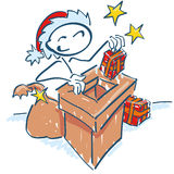 Stick figure as Santa at the chimney on the roof Stock Photography