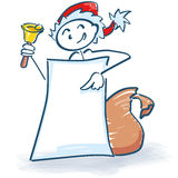 Stick figure as Santa Claus with bell, poster and bag Stock Image