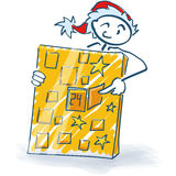Stick figure as Santa Claus and Christmas calendar Royalty Free Stock Photos