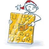 Stick figure as Santa Claus and Christmas calendar Royalty Free Stock Photos