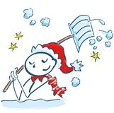Stick figure as Santa Claus shoveling in the snow Royalty Free Stock Image