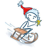 Stick figure as Santa Claus with sleigh Royalty Free Stock Image