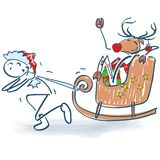 Stick Figure As Santa Pulls Sled With A Reindeer Royalty Free Stock Images