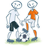 Stick figure as soccer player in white and orange Royalty Free Stock Photos