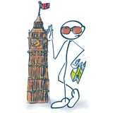 Stick figure as a tourist with Big Ben. And city-tour Royalty Free Stock Photo