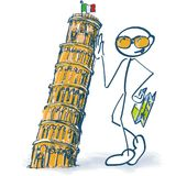 Stick figure as a tourist with leaning tower of Pisa. Stick figure as a tourist with leaning old tower of Pisa Stock Images
