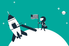 Stick figure astronaut landed on planet with his rocket, placing flag in the ground. Stock Images