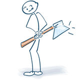 Stick figure with an ax Royalty Free Stock Image