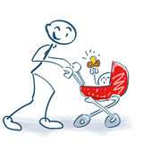 Stick figure with baby carriage and child vector illustration