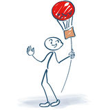 Stick figure with balloon on a stick Royalty Free Stock Photo