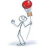Stick figure with balloon on a stick. Stick figure with colorful balloon on a stick Royalty Free Stock Photo