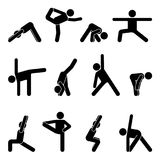 Stick figure basic yoga position set. Vector illustration of sportsman pictogram on white Stock Photography