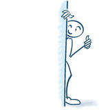Stick figure behind a wall Stock Images