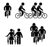 Stick figure bicycle race pictogram. Sport activity fitness icon.
