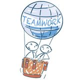 Stick figure in a hot air balloon and teamwork. Stick figure in a big hot air balloon and teamwork Royalty Free Stock Photo