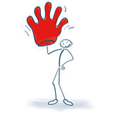 Stick figure with big red glove Stock Photography