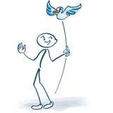 Stick figure with bird on a stick. Stick figure with bird on a long stick royalty free stock image