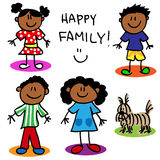 Stick figure black family vector illustration