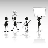 Stick figure with blank text box. Idea stick figure - vector illustration. Men with paper Royalty Free Stock Image