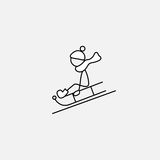 Stick figure boy doing winter activities. Vector Royalty Free Stock Photography