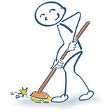 Stick figure with a broom Royalty Free Stock Photography