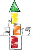 Stick figure build tower. Stick figure build a tower from red to green Stock Photo