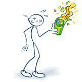 Stick figure burns euros down. Stick figure burns all euros down stock illustration