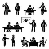 Stick figure business communication icon set. Vector illustration of presentation, negotiation, discussion on white Royalty Free Stock Photos