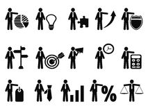 Stick figure with business icons. Isolated stick figure with business icons from white background Royalty Free Stock Photography