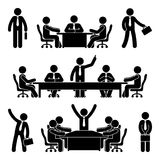 Stick figure business meeting set. Finance chart person pictogram icon. Employee solution marketing discussion. Stick figure business meeting set. Finance chart Stock Image