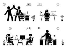 Stick figure business office vector icon pictogram on white. Men and women happy, working, sitting, reporting, writing people silh. Ouette royalty free illustration