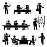 Stick figure business presentation icon set. Vector illustration of negotiation on white Stock Images