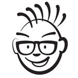 Stick figure business punk head. Vector drawing on white background Stock Photo