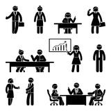 Stick figure business report icon set. Vector illustration of workplace on white Royalty Free Stock Images