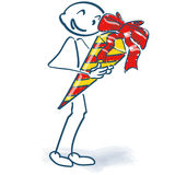 Stick figure with candy bag for school Royalty Free Stock Image