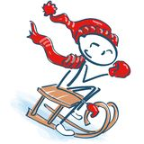 Stick figure with cap on the sled. Stick figure with scarf and cap on the sled Stock Photography