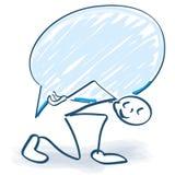 Stick figure carries a speech bubble vector illustration