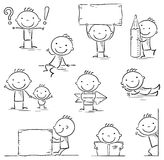 Stick figure cartoon character. A stick figure cartoon character in different poses with signs and objects, black and white Royalty Free Stock Photo