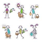 Stick figure cartoon set - Easter vector Stock Image