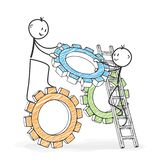 Stick Figure Cartoon - Stickman helping his colleague. Symbolic. Stick Figure in Action - Stickman helping his colleague. Symbolic Teamwork Gear Wheel Icon royalty free illustration