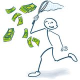 Stick figure catches with a cashier money. Stick figure catches with a cashier big money royalty free illustration