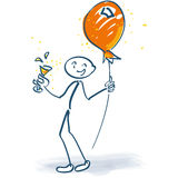 Stick figure with champagne glass and balloon on a stick. Stick figure with champagne glass, balloon on a stick and party Stock Photos