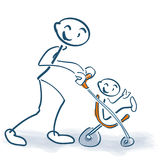 Stick figure with children buggy and little child. On the street Royalty Free Stock Photo