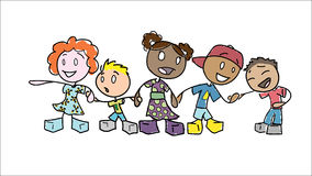 Stick Figure Children Holding Hands Stock Photo