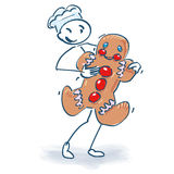 Stick figure and christmas bakery Royalty Free Stock Photo