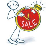Stick figure with clock and sale. Stick figure with clock and big sale Stock Images