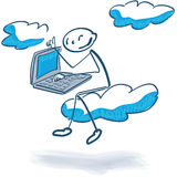 Stick figure with cloud computing Royalty Free Stock Photo