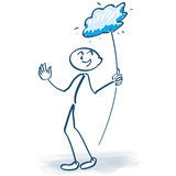 Stick figure with cloud lolly Royalty Free Stock Images