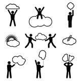 Stick Figure and Clouds. Stick figure with the cloud in the form of advertising framework. Human action, represents advertising Royalty Free Stock Photography