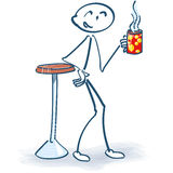 Stick figure at the coffee break Royalty Free Stock Images